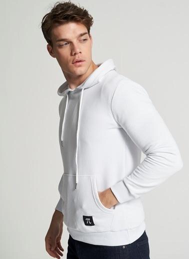 Pi π Kapüşonlu Kanguru Cepli Sweatshirt Beyaz